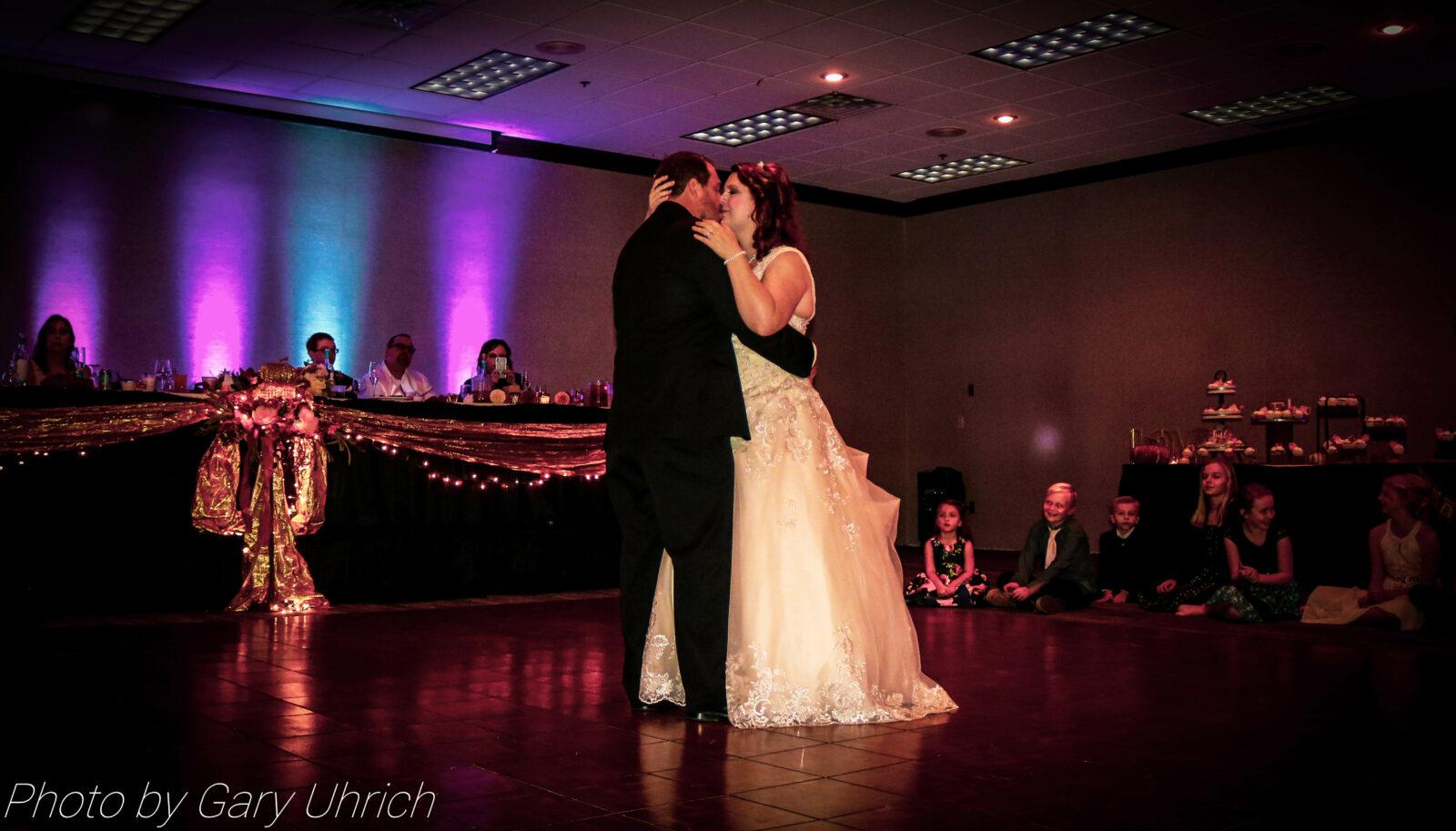 Bride and Groom Dance Floor with Uplighting