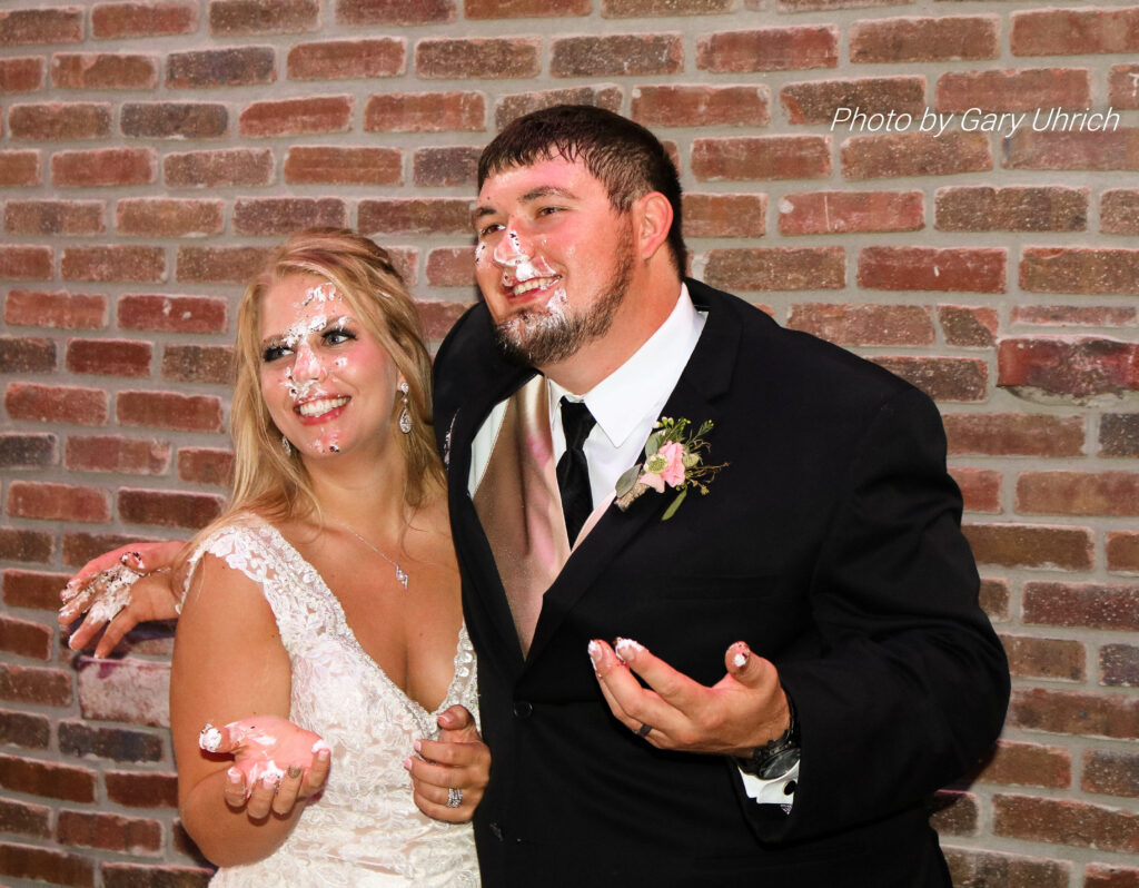 Bride and Groom Cake Smash Candid Moment